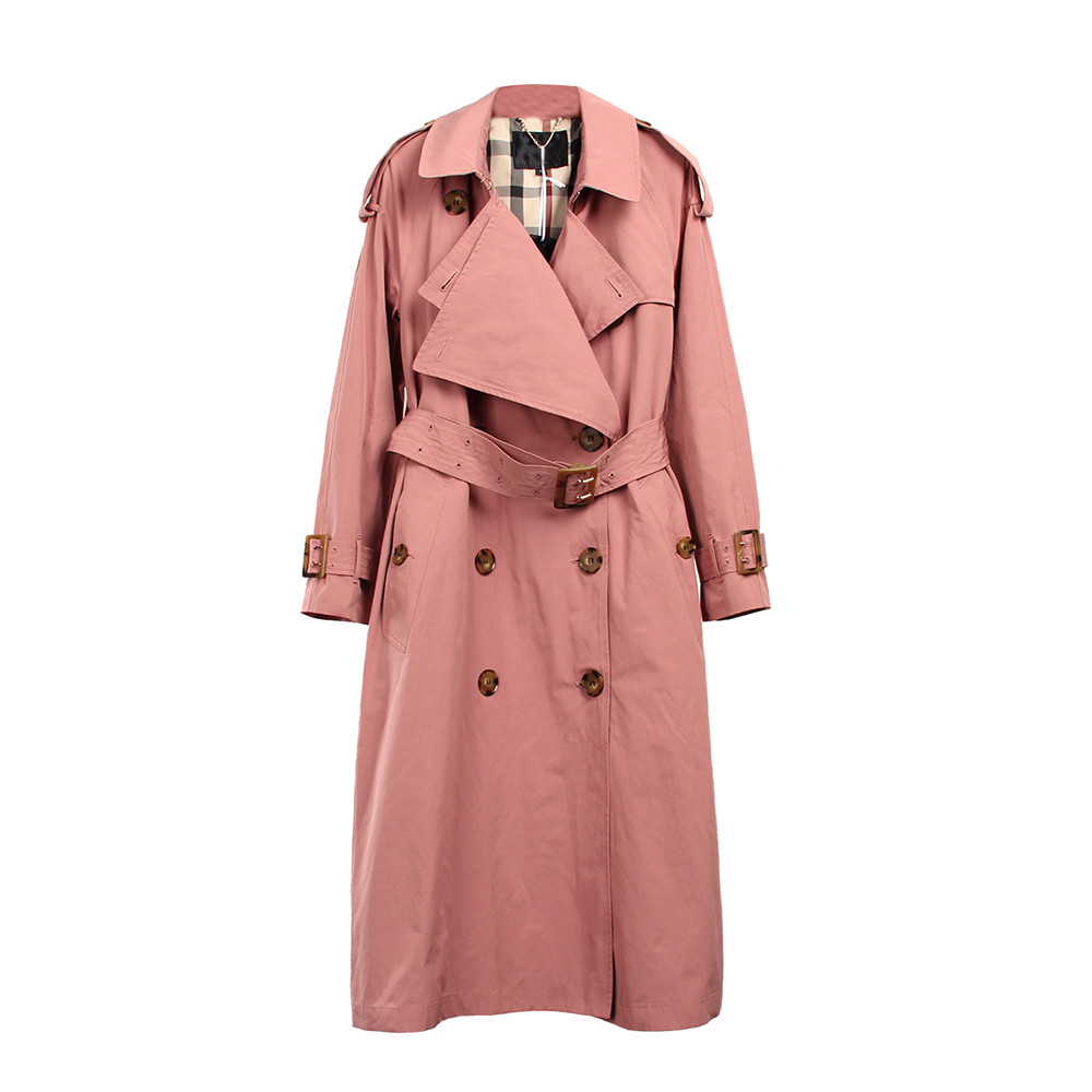 Single Breasted   Trench   Coat British Ladies Loose Extra-long Beige Coat For Women Causal Stylish Pink Coat