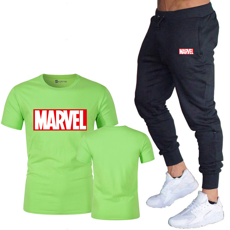 HTB1 7UxJ4TpK1RjSZFKq6y2wXXaE New summer hot brand sale men's MARVEL suit T shirt + pants two piece casual sportswear printing shirts gym fitness pants 2019