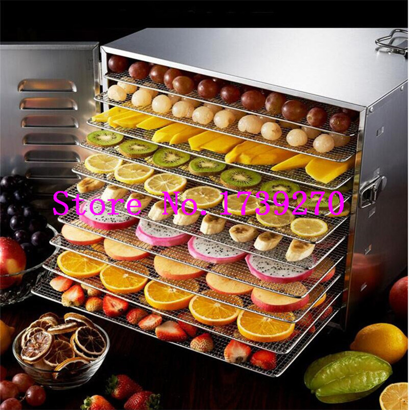 Household 10 Tray Stainless Steel Nuts Dry Machine Fruits and Vegetables Dehydration Drying Machine Pet Food Dryer household vacuum packaging sealing machine sealer wet and dry use 30cm 110w 220v