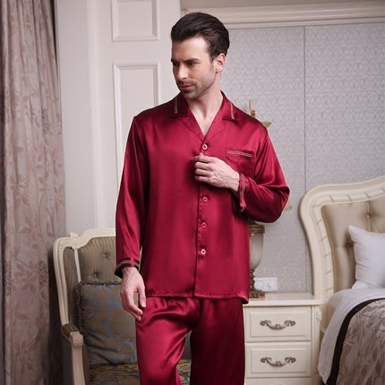 Male 100 silk Long sleeves Two-piece suit Pajamas suit