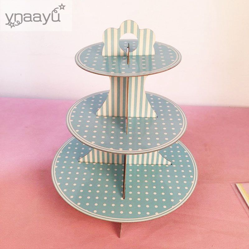 Ynaayu 1pcs 3 Tier Cupcake Stand Paperboard Cake Stand DIY ...
