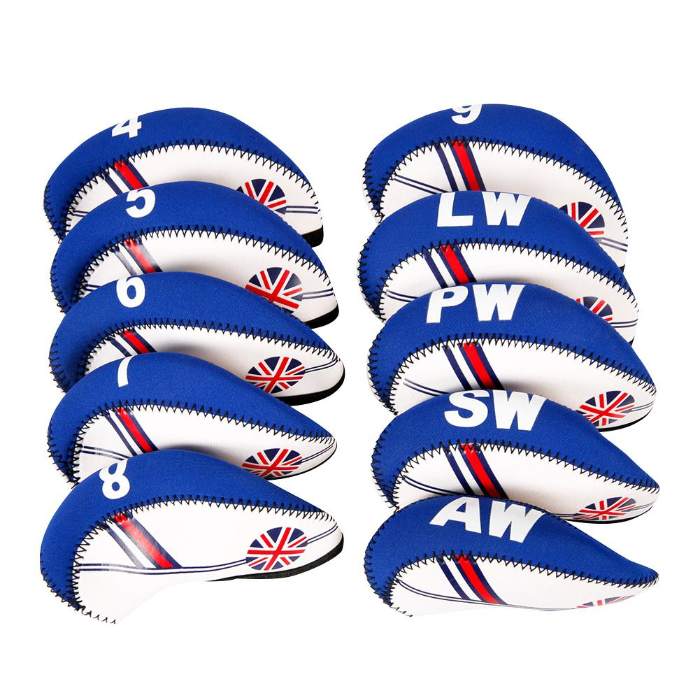 HobbyLane 10 Pcs Neoprene Golf Club Iron Head Cover Set White With Blue US Flag Headcovers Onesize Fit For All Irons Clubs