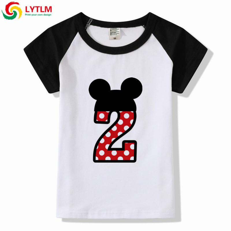 LYTLM 2th Birthday Mickey T Shirt Kids Summer Girls Funny 3D Baby