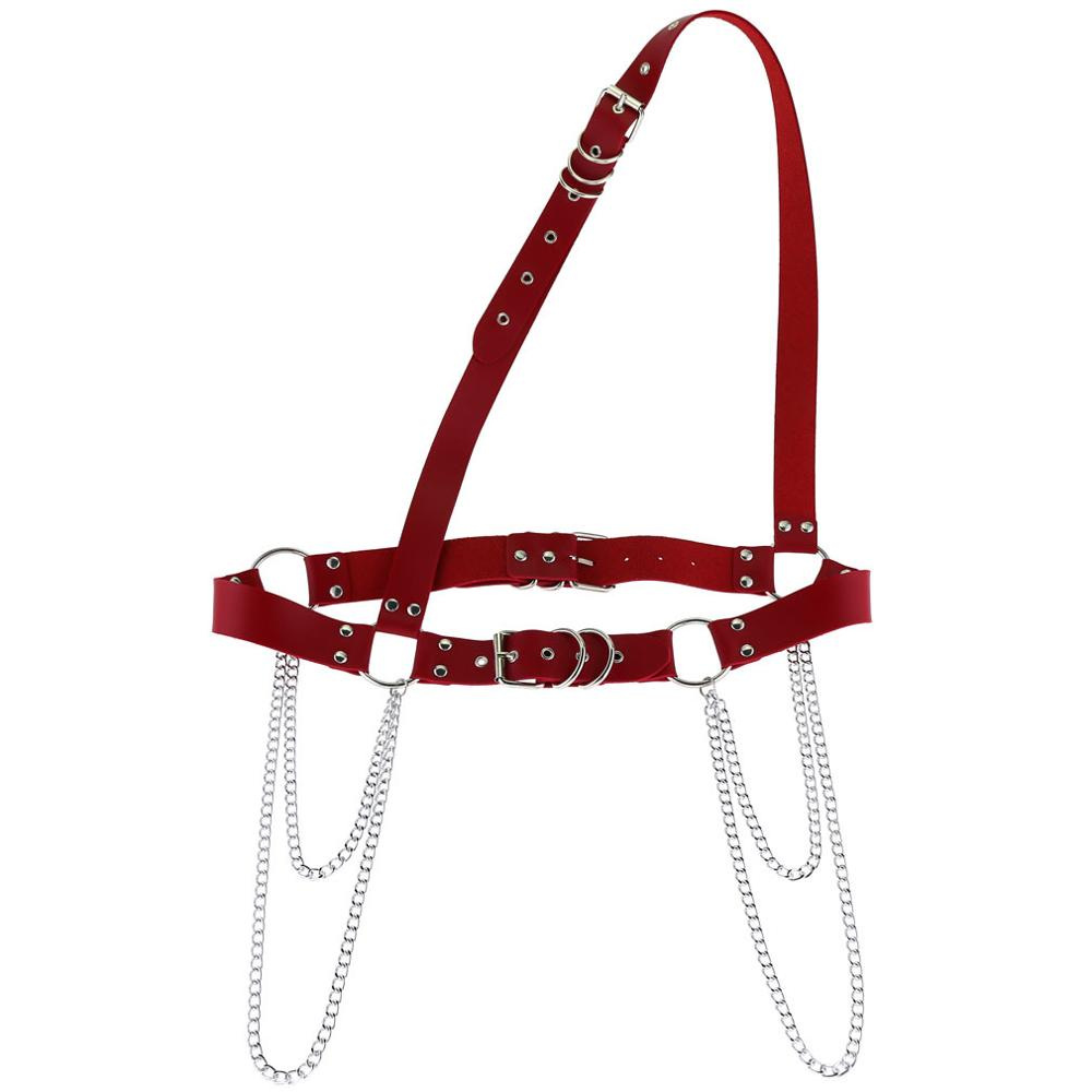 HATCYGGO Chain Belt For Women Leather Shoulder Harness Ladies Belt Punk Body Bondage Cage Sculpting Harness Waisband Strap Belts in Women 39 s Belts from Apparel Accessories