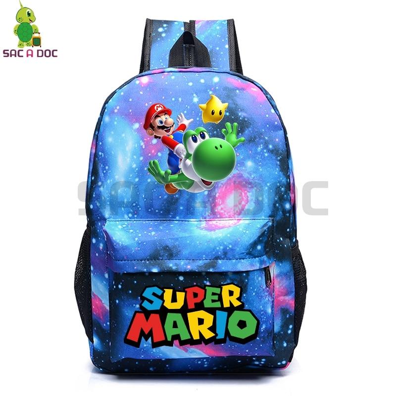 095055fcb5d0 Super Mario Galaxy Space Backpack Women Men School Bag for Teenage Girls  Boys Starry Night Backpack