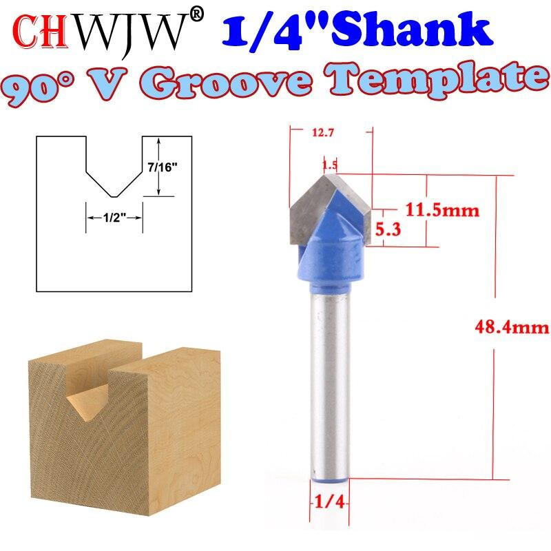 1pc 1/4 Shank 90 Degree V Groove Sign Lettering V-Groove V Grooving Router Bit - 1/2x 11 ...