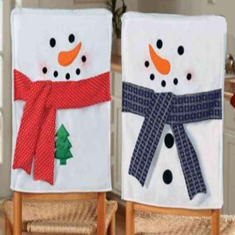 С милым снеговиком Рождественский чехол для кресла спандекс толще ткань для обеденный стол и стул Съемное Сиденье крышка Рождественское украшение дома