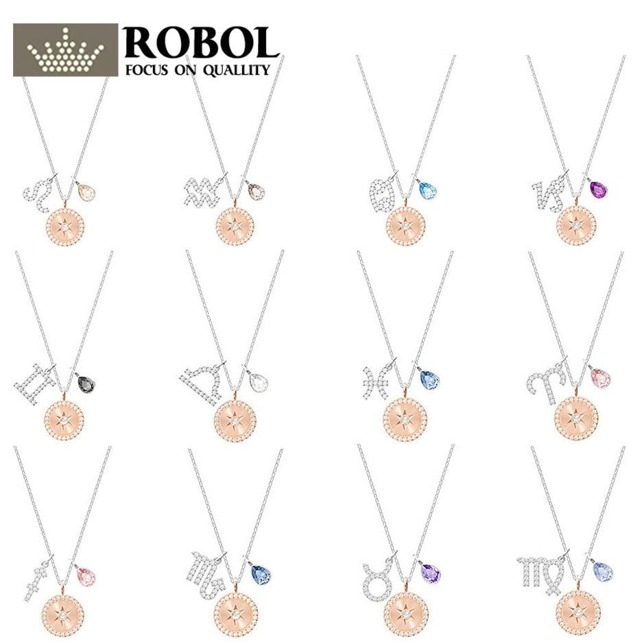ROBOL Zodiac Pendant Rhodium Plating Original Copy SWA Necklace 100% Foundation Manufacturer Wholesale Free Mail