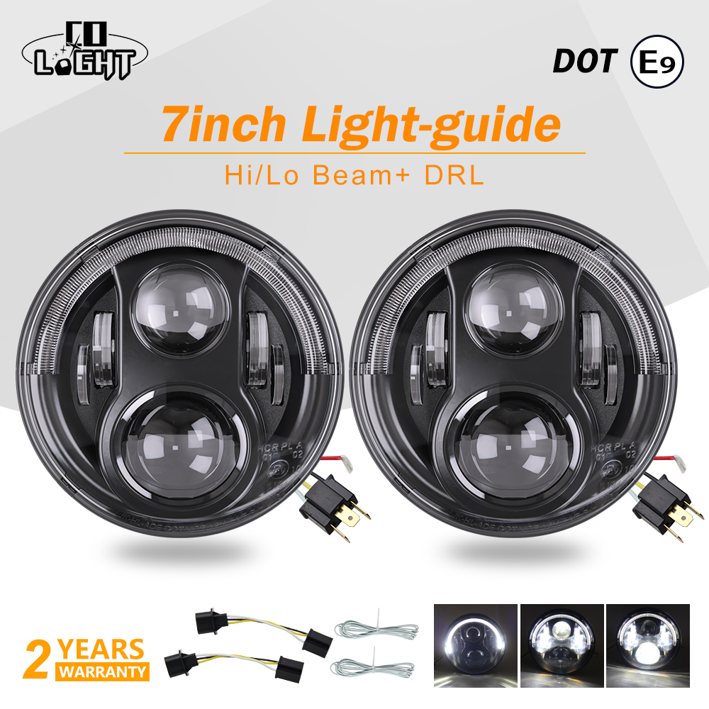CO LIGHT 7 Inch Running Lights 55W H4 Drl White Angel Eyes Car Led Lights for Niva Jeep Wrangler Hummer Toyota Hunting + E9 DOT