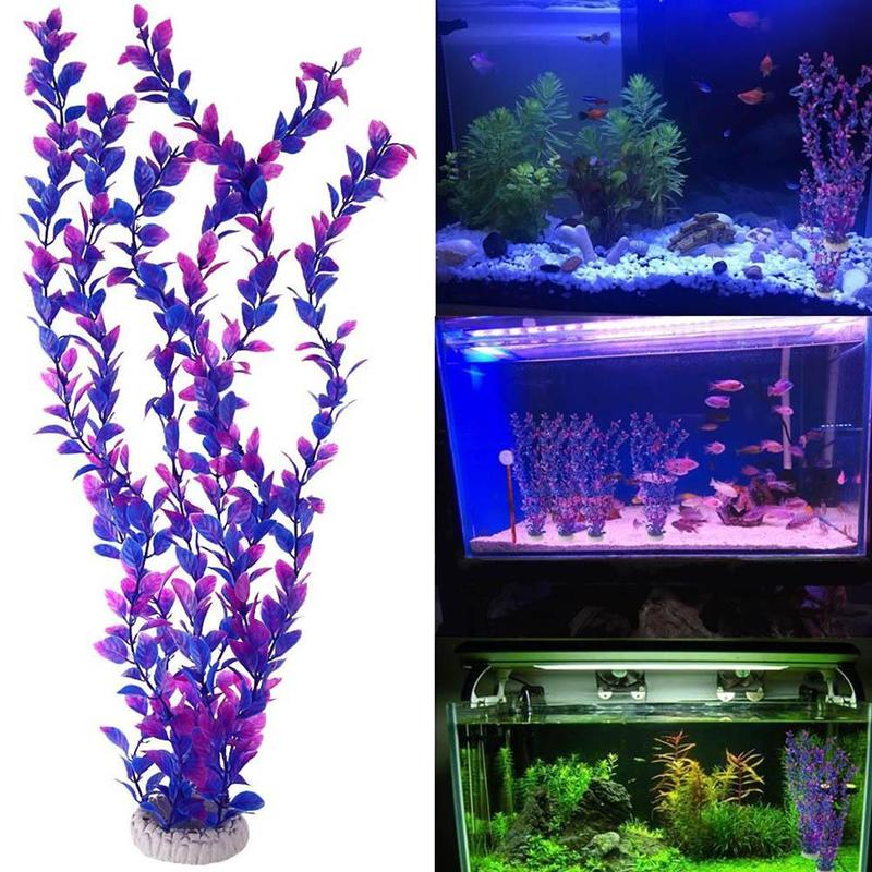Artificial Purple Plastic Plants Aquarium Fish Tank Artificial Grass Aquarium Decoration For Fish's grass viewing decorations(China)