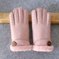 Women S Gloves Winter Warm Warm Fashion Sheepskin One Thickening Finger Breathable Sheepskin Hand Sewn Gloves