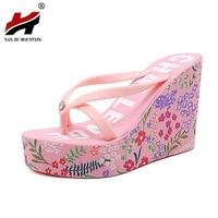 2017 New Ultra High Heels Beach Slippers Summer Style Wedge Platform Sandals for Women Huarache Flip Flops Woman Shoes
