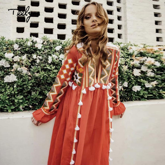 TEELYNN boho dresses for women vintage autumn floral embroidery dresses  flare long sleeve v-neck loose Hippie long dress vestido 5255f449dc07