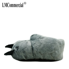 Warm winter home slippers / shoes bear paw leopard claw Plush bag with cotton (silver haired)