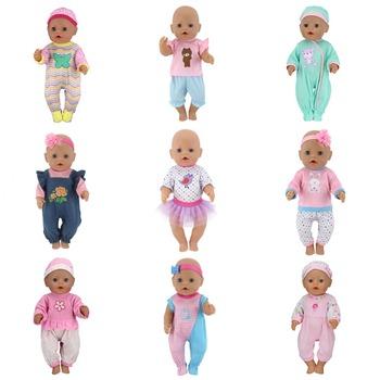 Modne lalki kombinezony z kapeluszem nadające się do 43cm laleczka bobas Doll Reborn ubranka dla dzieci 17 cali akcesoria dla lalek tanie i dobre opinie NURVACO Tkaniny Jumpsuits BOYS Styl życia Koszule i bluzki 17inch Doll is not included