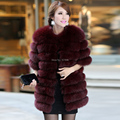 2016 Luxury Brand New Women's Genuine Fox Fur Coat Jacket Half Sleeve Lady Winter Women Fur Outerwear Coats VK1036