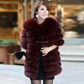 2016 Luxury Brand New Women's Genuine Fox Fur Coat Jacket Half Sleeve Lady Winter Women Fur Outerwear Coats VK1036