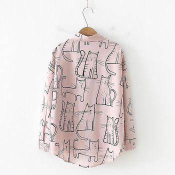 Cute Cat Print Loose Casual Ladies Blosues Tops Women Turn Down Collar Long Sleeve Shirt Blouse Femme 8