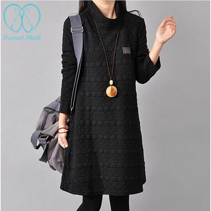 de la vendimia d polka dot grueso dress otoo e invierno moda suelta