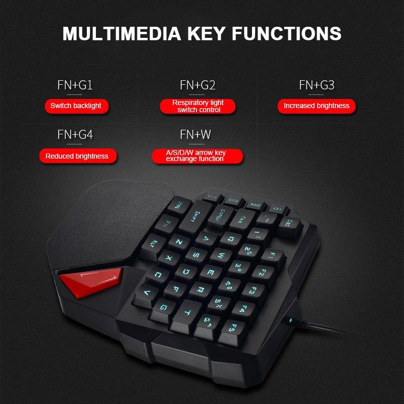 Einzigen Hand Wired Gaming Tastatur 38 Tasten Mini Membran Tastatur für Dota OW PUBG SL @ 88