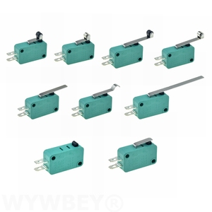 Micro Limit Switches 16A 250V 125V SPST 4.8mm Width 2Pins NO Normally Open 16mm 52mm Arc Roller Lever Touch Switch Microswitch