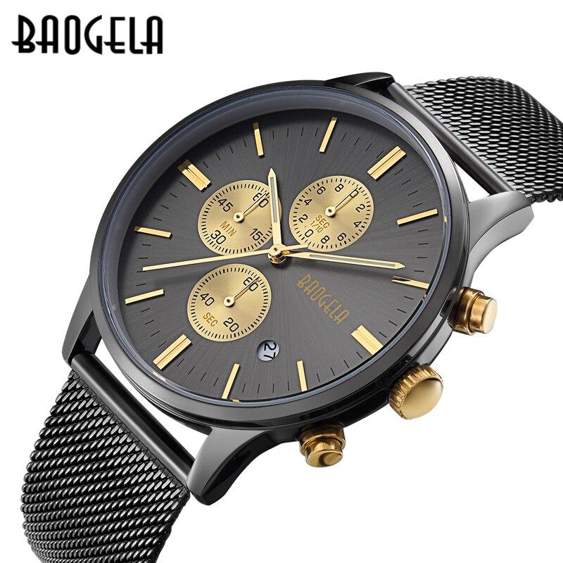 Relojes de hombre BAOGELA de moda deportivos de cuarzo-Reloj de acero inoxidable de marca de malla para hombre reloj de pulsera multifunción cronógrafo