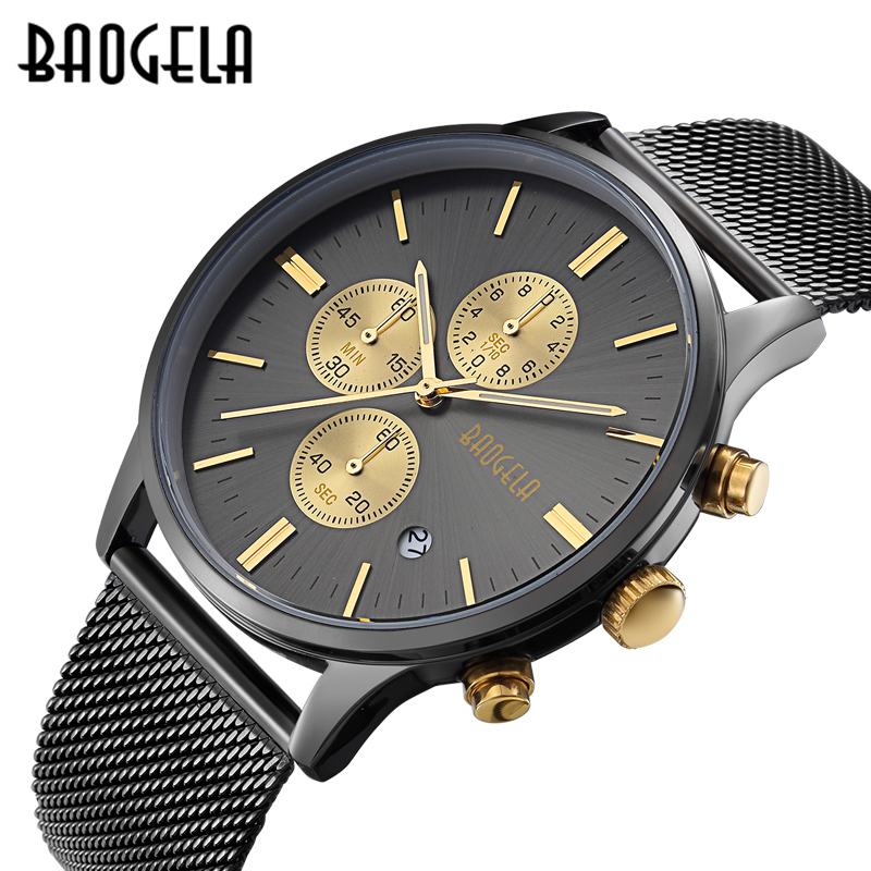 Relojes de hombre baogela moda deportes cuarzo-Reloj de acero inoxidable de malla marca hombres relojes multifunción reloj cronógrafo