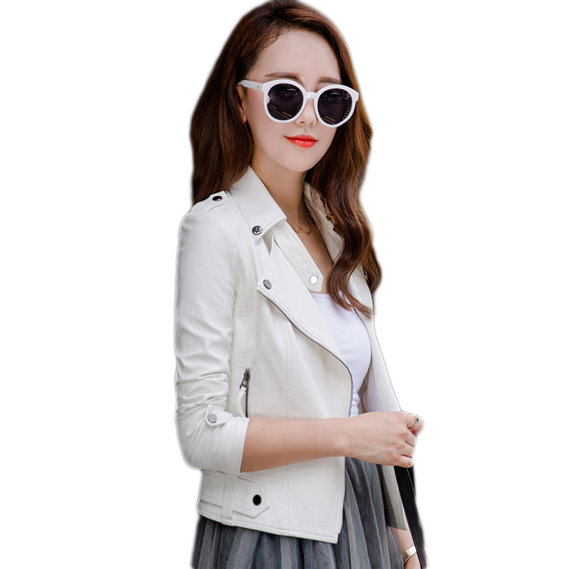 High quality Summer Women s New Slim Motorcycle PU Leather Ladies Autumn Short Slim Motorcycle font
