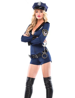 Adult Sexy Lingerie Cosplay Police Cop Uniform Costume Outfit Hat Belt Handcuffs Sets Halloween Partywear