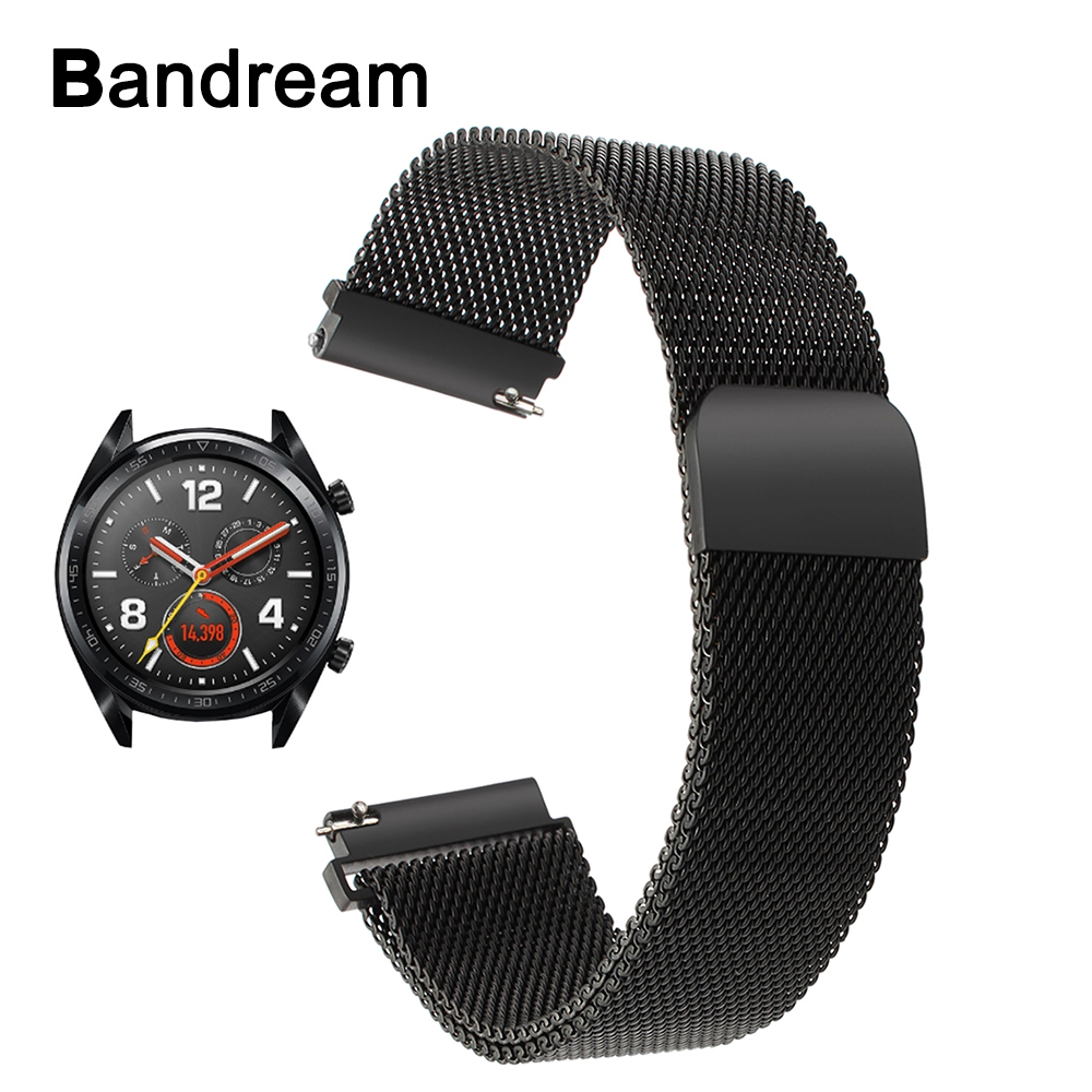 Milanese Loop Stainless Steel Watchband for Huawei Watch GT Magnetic Buckle Band Quick Release Metal Strap Sports Wrist Bracelet new best price milanese magnetic loop stainless steel band strap bracelet for huawei honor 3 smart watch drop shipping jan8