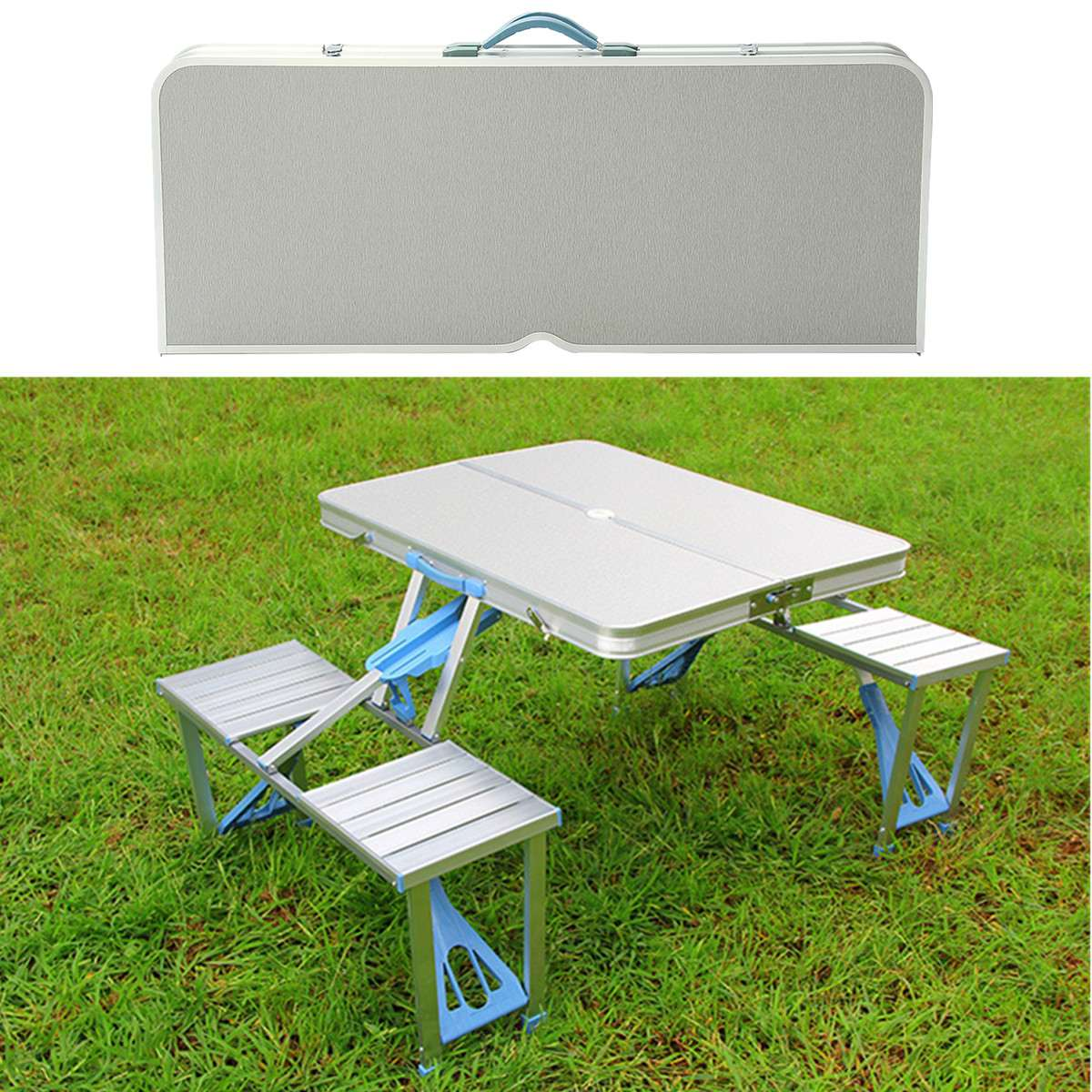 Outdoor Family Party 4 Person Aluminum Alloy Outdoor Portable Camping Picnic BBQ Folding Table Chair Stool Set hewolf portable size outdoor camping beach bbq barbecue grill rack household use lightweight folding picnic rack stand well sell