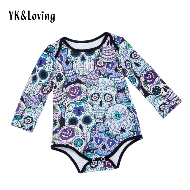 6e953f835 Newborn Baby Jumpsuit Rompers Boys Girls Long Sleeve Cotton Skull ...