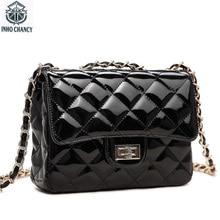 INHO CHANCY Fashion Small Chain Plaid Women Handbag Patent Leather Female Messenger Crossbody Bag Bolsa Feminina Famous Brand