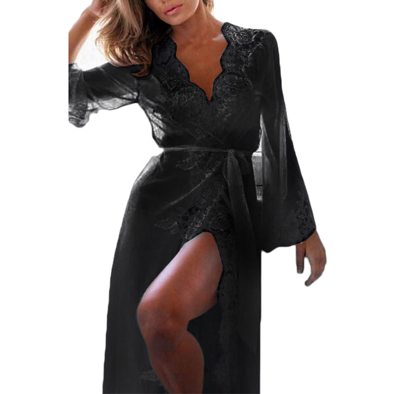 Autumn style sexy dressing gown long lace hot sexy lingerie long sleeve front open women