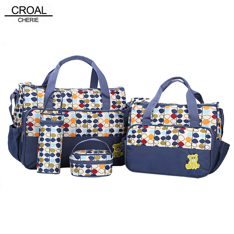 CROAL CHERIE  5pcs/lot Mother Baby Bags For Mom Multifunctional Organizer Baby Maternity Nappy Changing Bag Women Messenger Bag