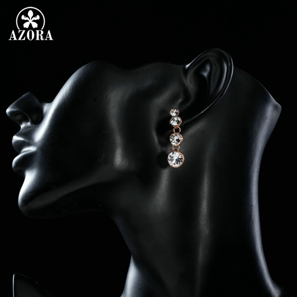 AZORA Rose Gold Color String Round Austrian Rhinestones Simple Fashion  Earrings TE0213-in Drop Earrings from Jewelry   Accessories on  Aliexpress.com ... 7560f67f0cc0