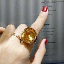 FLZB, дизайн, кольцо с большим драгоценным камнем, натуральный цитрин, прямоугольник, 18*20 мм, 25ct, супер красивое счастливое кольцо для женщин