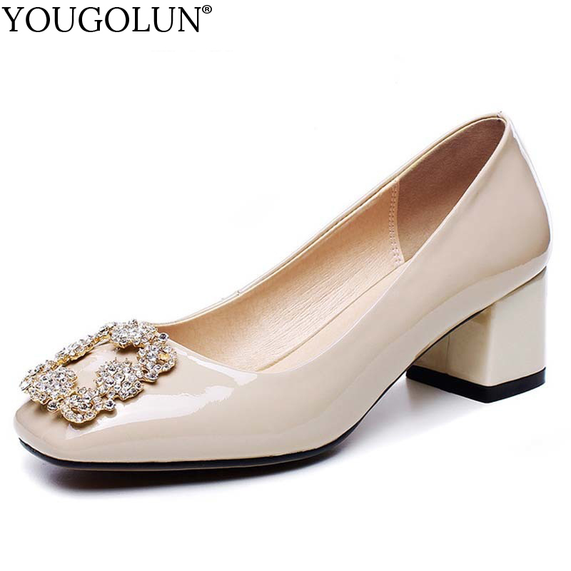 YOUGOLUN Women Pumps Genuine Patent Leather Thick Heel 5 cm High Heels Crystal Square Toe Black Apricot Office Lady Shoes #A-036 luxury brand crystal patent leather sandals women high heels thick heel women shoes with heels wedding shoes ladies silver pumps