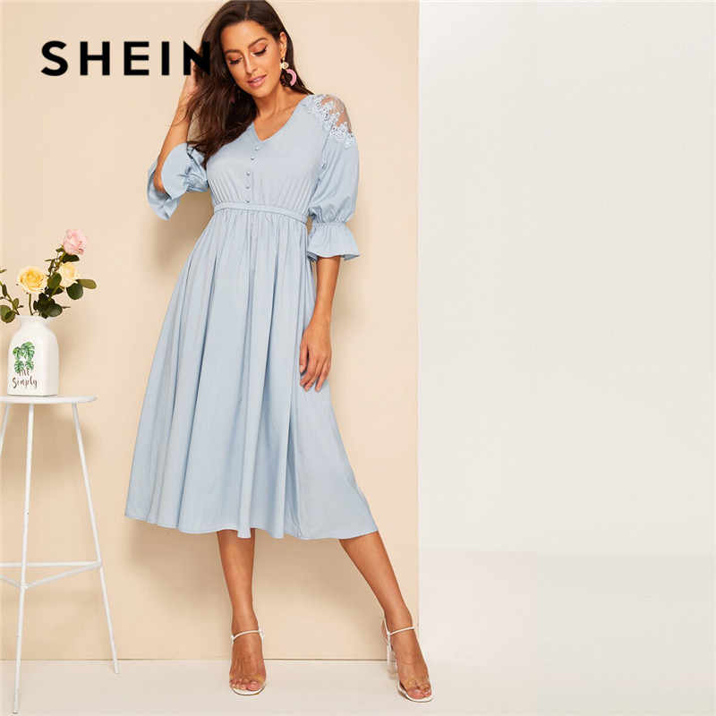 SHEIN Blue Lace Shoulder Elastic Waist Long Dress Women Elegant V Neck Half Sleeve Summer Dress 2019 Solid High Waist Dresses