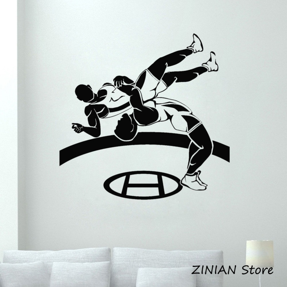 Wrestlers Sports Vinyl Wall Stickers Home Decor Living Room Bedroom Removable Wrestling Combat Sport Wall Decals Boys Room Z085