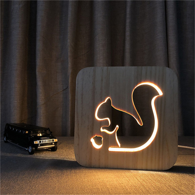 3D Squirrel Wooden DIY Night Light Lovely Party Kid Desk Table Lamp LED Lighting Gift USB Decor Nightlight Birthday Unique Gift novelty night light cartoon led children s nightlight 3d lamp colorful table lamp for kid s gift