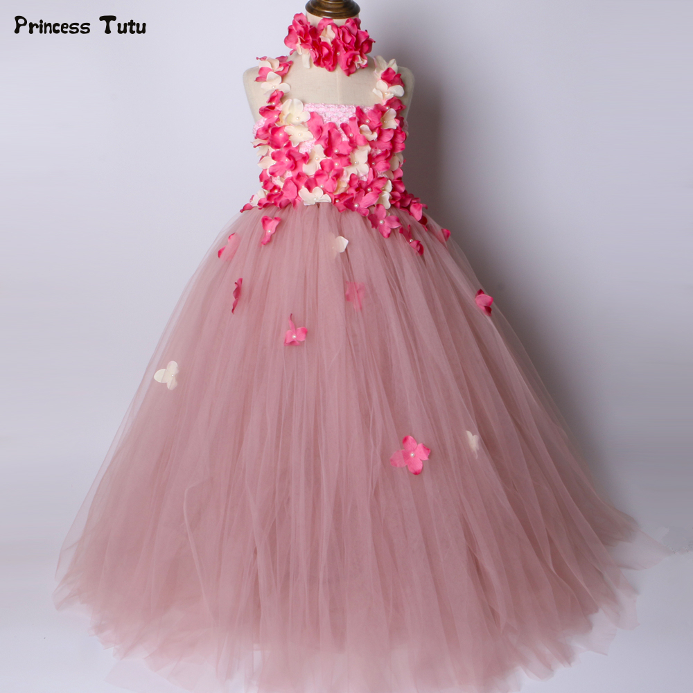 Bean Paste Pink Flower Girl Tutu Dress Tulle Flower Fairy Princess Dress Kids Wedding Birthday Party Dress Girls Ball Gown 1-14Y mint green girls tutu dress children wedding flower girl dress kids birthday party dress girls ball gown princess fairy costume