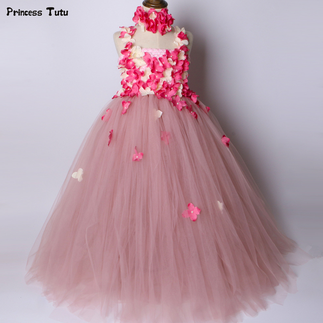 ab28b614653 Bean Paste Pink Flower Girl Tutu Dress Tulle Flower Fairy Princess Dress  Kids Wedding Birthday Party Dress Girls Ball Gown 1-14Y