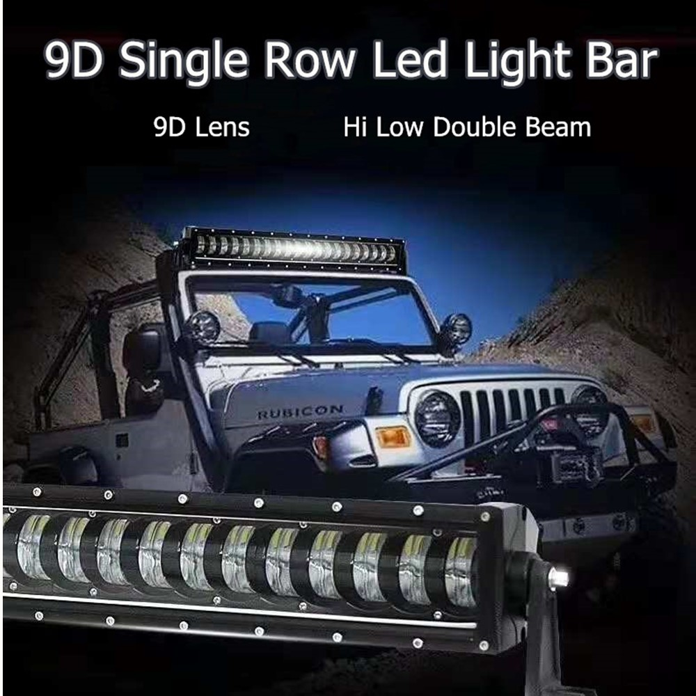 9D 4x4 Offroad Hi Low Beam Single Row Led Work Light Bar For Jeep Trucks SUV