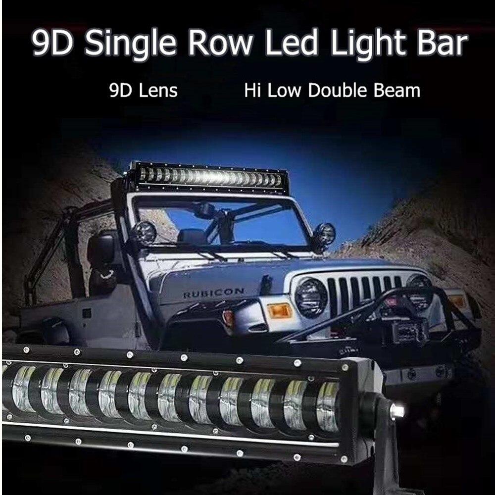 9D 4x4 Offroad Hi Low Beam Single Row Led Work Light Bar For Jeep Trucks SUV ATV 12V 24V Trailer Motorcycle Car External Lights