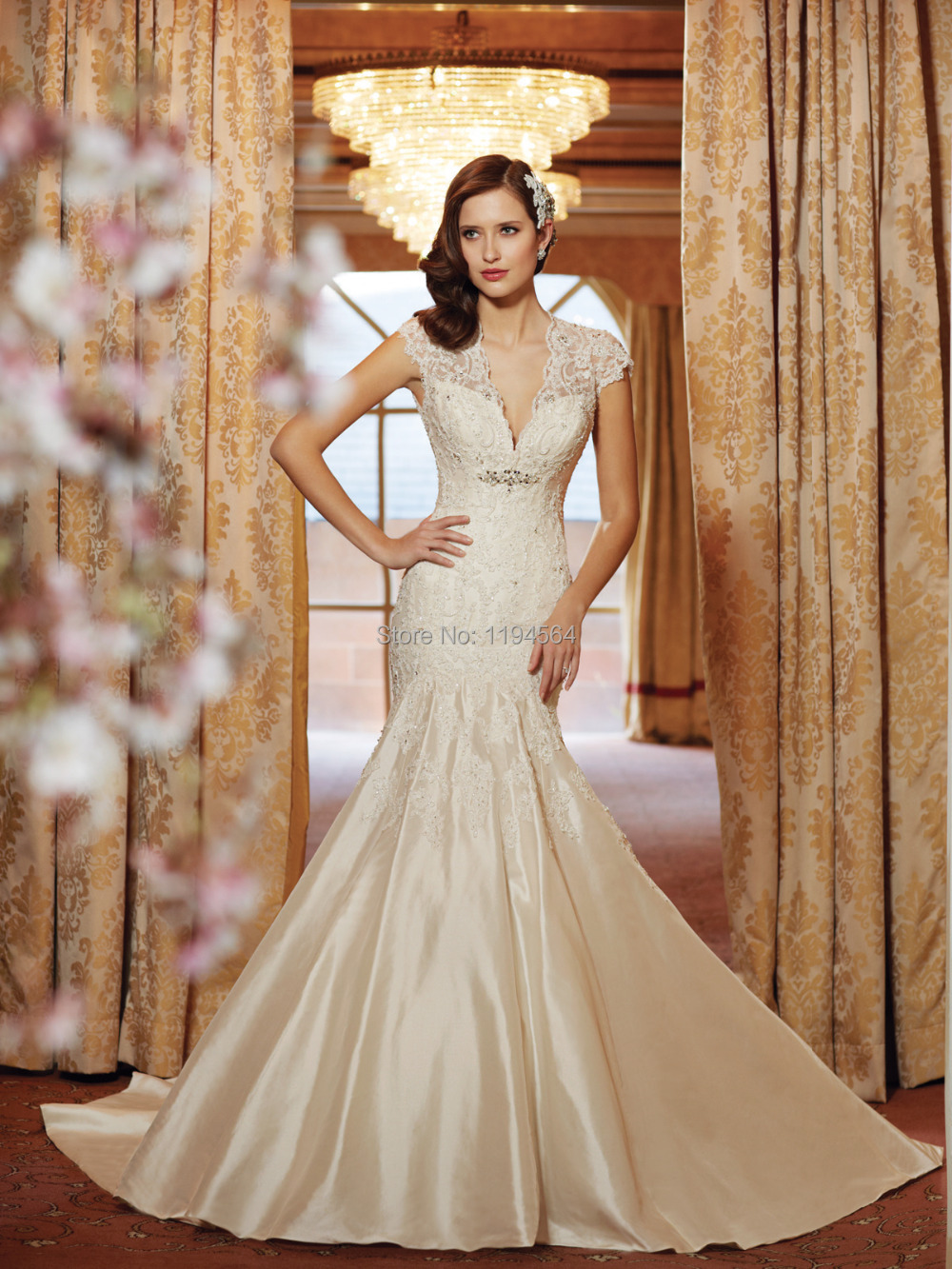 Free Shipping 2014 Wedding Dresses with Lace Mermaid Bridal Gowns ...