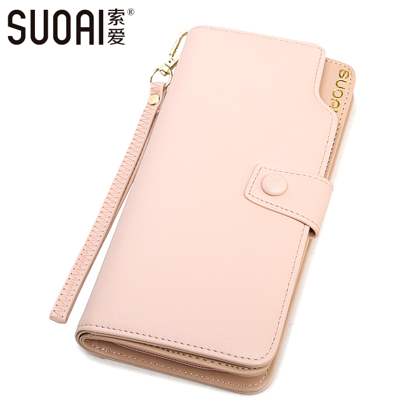SUOAI Wallet 2017 New Women Long Wallets Fashion Pu Leather Lady Candy Purse High Quality Female Zipper Card Holder Wallet 2017 new women wallets cute cartoon bear lady purse pu leather clutch wallet card holder fashion handbags drop shipping j442