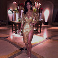 2016 золото sequin dress sexy v-образным вырезом с длинным рукавом sparkly мода вечерние ночной клуб сторона сплит платья перевозка груза падения