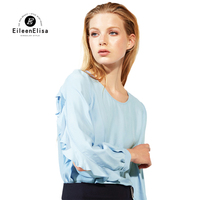 2017 Blue Simple Blouse Women Long Side Open Sleeve Round Neck Tops Female Casual Blouse Shirts