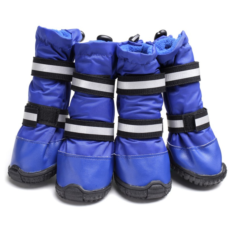4Pcs/ Lot Pet Dogs Winter <font><b>Shoes</b></font> Outdoor Windproof Sport Protect Feet <font><b>Shoes</b></font> In Rainy Snowy Days Anti-slip Dogs Footwear Booties image